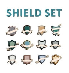 Colorful Shields and ribbons vector image