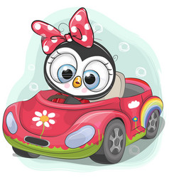 Cute penguin girl goes on the car vector