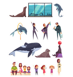 Dolphinarium essential characters set vector