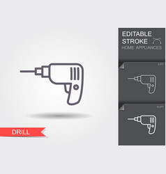 drill line icon with editable stroke with shadow vector image