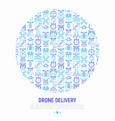 drone delivery concept in circle vector image