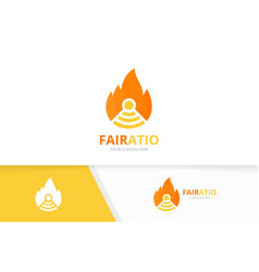 Fire and wifi logo combination flame vector