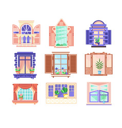Flat set of colorful window frames flowers vector