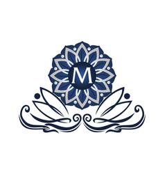 Flower elegant icon initial m vector