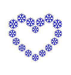frame border snowflake lined up in a heart shape vector image
