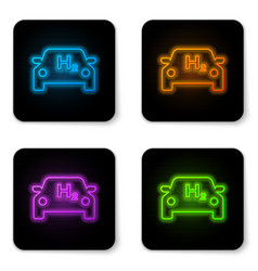 glowing neon hydrogen car icon isolated on white vector image