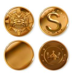 Golden coins 3d icon set vector