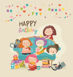 Group of cute girls celebrating birthday vector