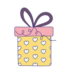 happy birthday gift box with hearts decoration vector image