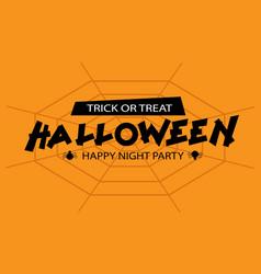 happy halloween night party black text on orange vector image