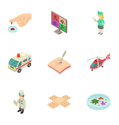 help of doctor icons set isometric style vector image