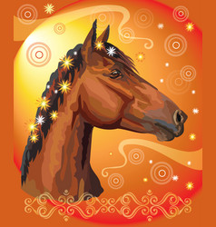Horse portrait with flowers14 vector