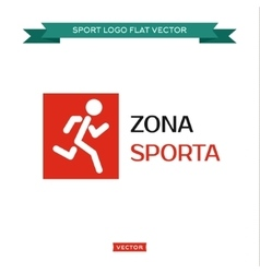 Icon running man logo in rectangle area sports vector