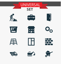 industry icons set with gear color can excavator vector image