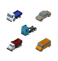 Isometric transport set of freight autobus auto vector