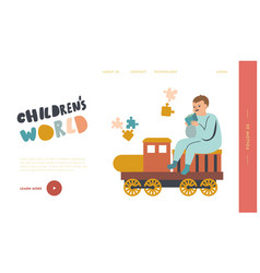 kid playing with toys in playroom or kindergarten vector image