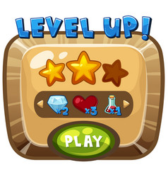 Level up template on computer game vector