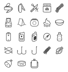 Line icon set for camp survivals vector