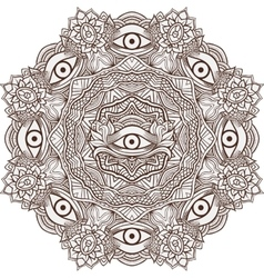 Mandala henna mehendi with the eye of providence vector image