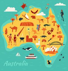 Map australia main tourist attractions vector