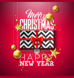 merry christmas with gift box gold vector image
