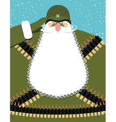 Military Santa Claus Old soldier with beard and vector image