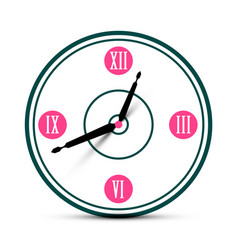 Modern roman numeral analog clock symbol time icon vector