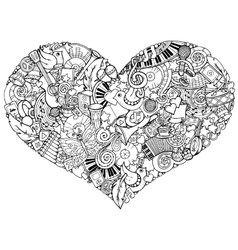 Music theme Hand drawn music heart Doodle heart vector
