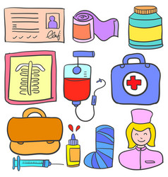 Object medical design of doodles vector