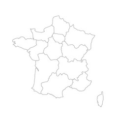 outline map of france divided into 13 vector image