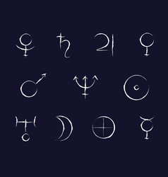 Paint brush stroked planet signs for zodiac vector