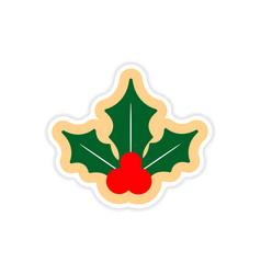 Paper sticker on white background sprig mistletoe vector