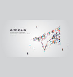 People crowd gathering in shape paper plane vector
