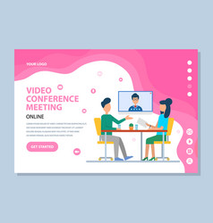 Person in screen video conference web vector