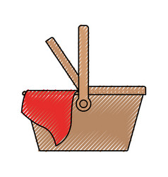 picnic basket icon colored crayon silhouette vector image