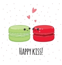 Postcard Happy kiss Lovers macaroon vector image