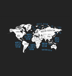 poster earth map with the name of the countries vector image