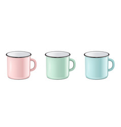 realistic enamel metal in pastel colors vector image