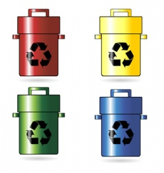 recycling trash cans vector image