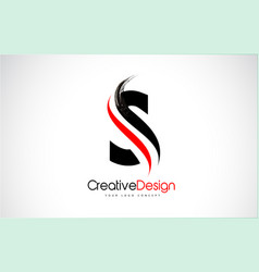 red and black s letter design brush paint stroke vector image