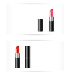 red and pink lipstick on white background vector image