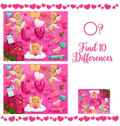Saint valentine day find ten differences puzzle vector