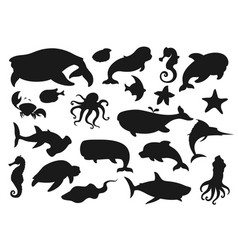 sea animals and fish silhouettes vector image