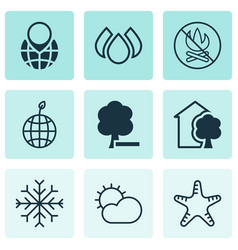 Set of 9 eco icons includes delete woods fire vector