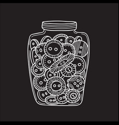 Set of cloth buttons in glass jar in boho style vector
