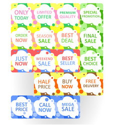 Set of colorful abstract seamless sale stickers vector
