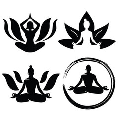 Set of meditation yoga logo design vector