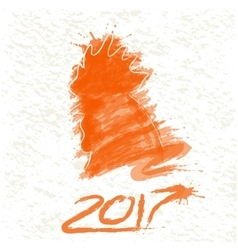 silhouette of rooster made by watercolor vector image