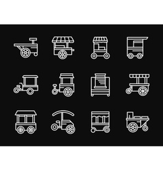 Street food white simple line design icons vector image