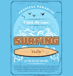 surfing sport club retro poster sea and surfboard vector image